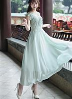 Free Shipping Korean New Fashion Deep V Collar Bowknot Lace Decorated Sleeveless Woman Long Dress Light