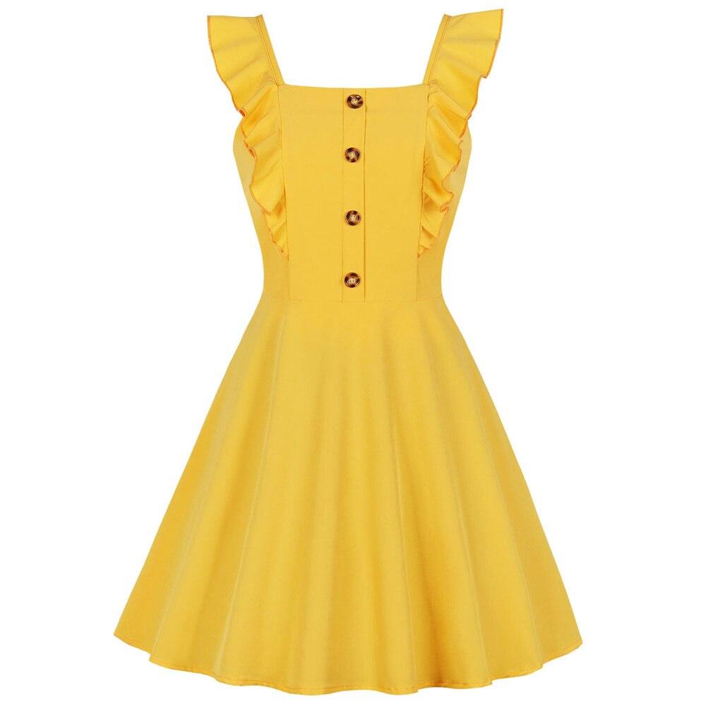 Желтые платья без рукавов с квадратным воротником Женская Винтажная брошь на платье на пуговицах на молнии вечерние платья однотонные летние ретро мини платья