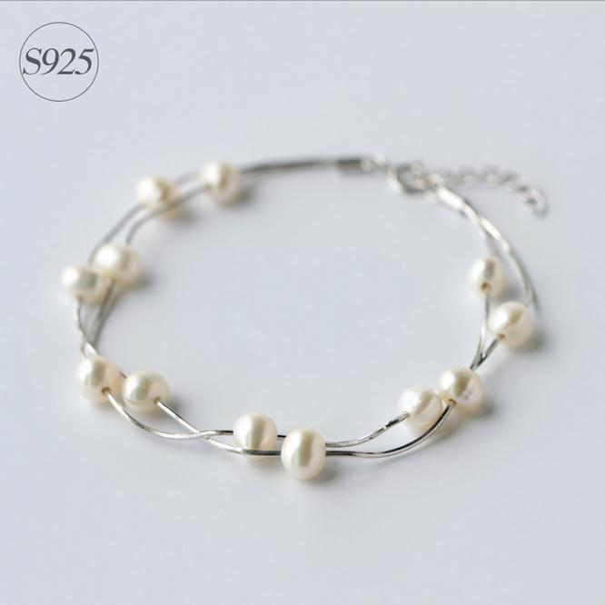 Bohême perle d'eau douce sterling 925 argent femmes main bracelet, vente chaude de mode double bracelet