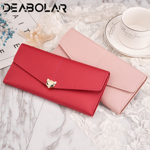 2019 New Women's Fox Decoration Long Wallet Korean Cute Students Multi-Card Mobile phone pocket money bag clutch cute dolphin style mobile phone wallet bag decoration deep pink white