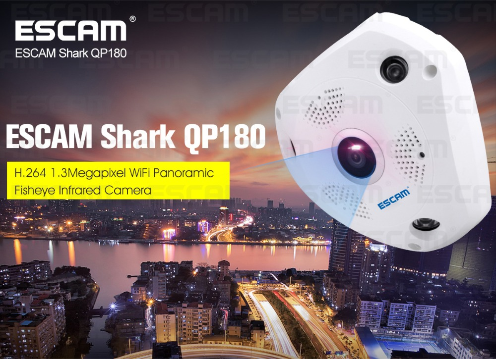 ESCAM QP180 960P 360 Degree Fish Eye Lens VR Panoramic IP Camera