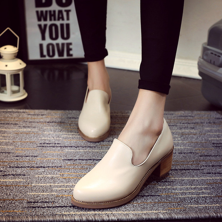 British Style Women Low Heel Pumps Shoes Genuine Leather Office Shoes Retro Wood Square Heel Oxford Shoes For Ladies Mujer beau today brand retro british style 2017 women low heel genuine leather casual brogues wingtip oxford shoes black blue brown