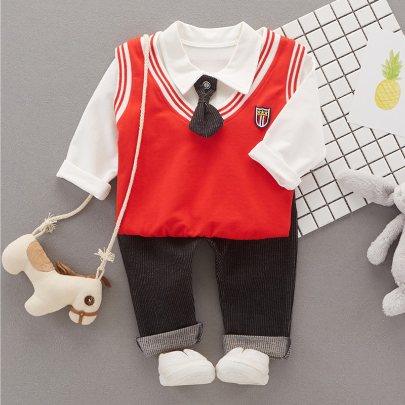 Spring/Autumn Children Baby boys Formal Clothing Sets T-shirt+Pants+Vest 3 Pieces Suit Boy Gentleman Leisure Clothes for Wedding malayu baby kids clothing sets baby boys girls cartoon elephant cotton set autumn children clothes child t shirt pants suit