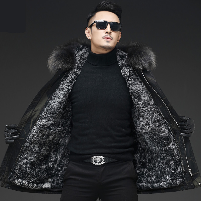 Fur-Coat Jacket Rabbit-Fur Winter Luxury New Long Lining Warm Men's
