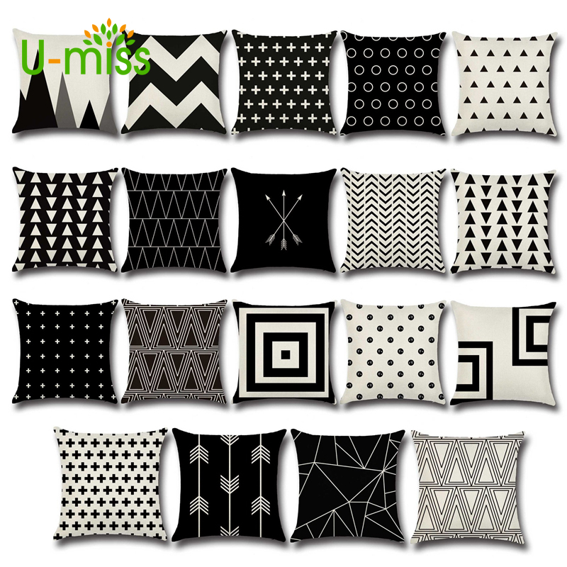 U-miss Cushion Cove Black Arrows Wave Dot Cross Geometry Pillow Sofa Throw Pillows Cover Wave Printed Home Decorative