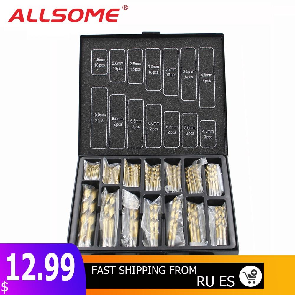 ALLSOME 99pcs 1.5mm - 10mm Titanium Coated Drill Bit Set High Speed Steel Manual Twist Drill Bits HT2386