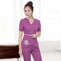 Women's Fashion Scrubs Set Nursing Uniforms Beauty Salon and Health Suit Workwear Elastic Slim Fitting with Embroidered Flowers