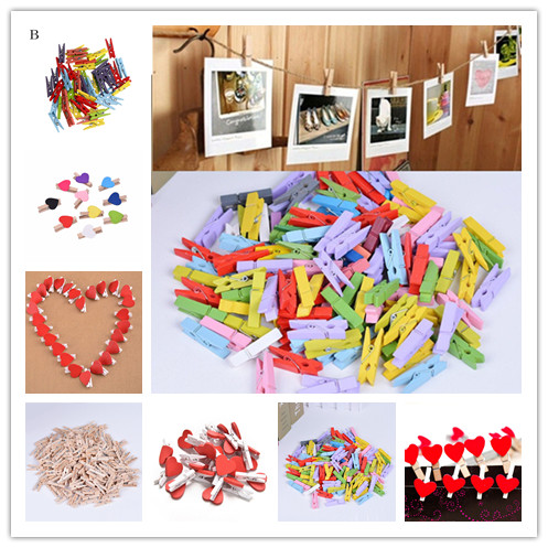 50pcs Mini Mixed Pegs Wooden Wedding Table Place Card Photo Holders Craft Clips