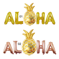 5PCS Summer Party ALOHA Balloon Hawaii Party Decorations Pineapple Aloha Letter Foil Balloons Air Balls Supplies Globes