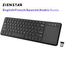 Zienstar2.4Ghz Touchpad Drahtlose Tastatur für Windows PC, laptop, ios pad, Smart TV, HTPC IPTV, android Box, Englisch/Russland/Fr/Arabisch