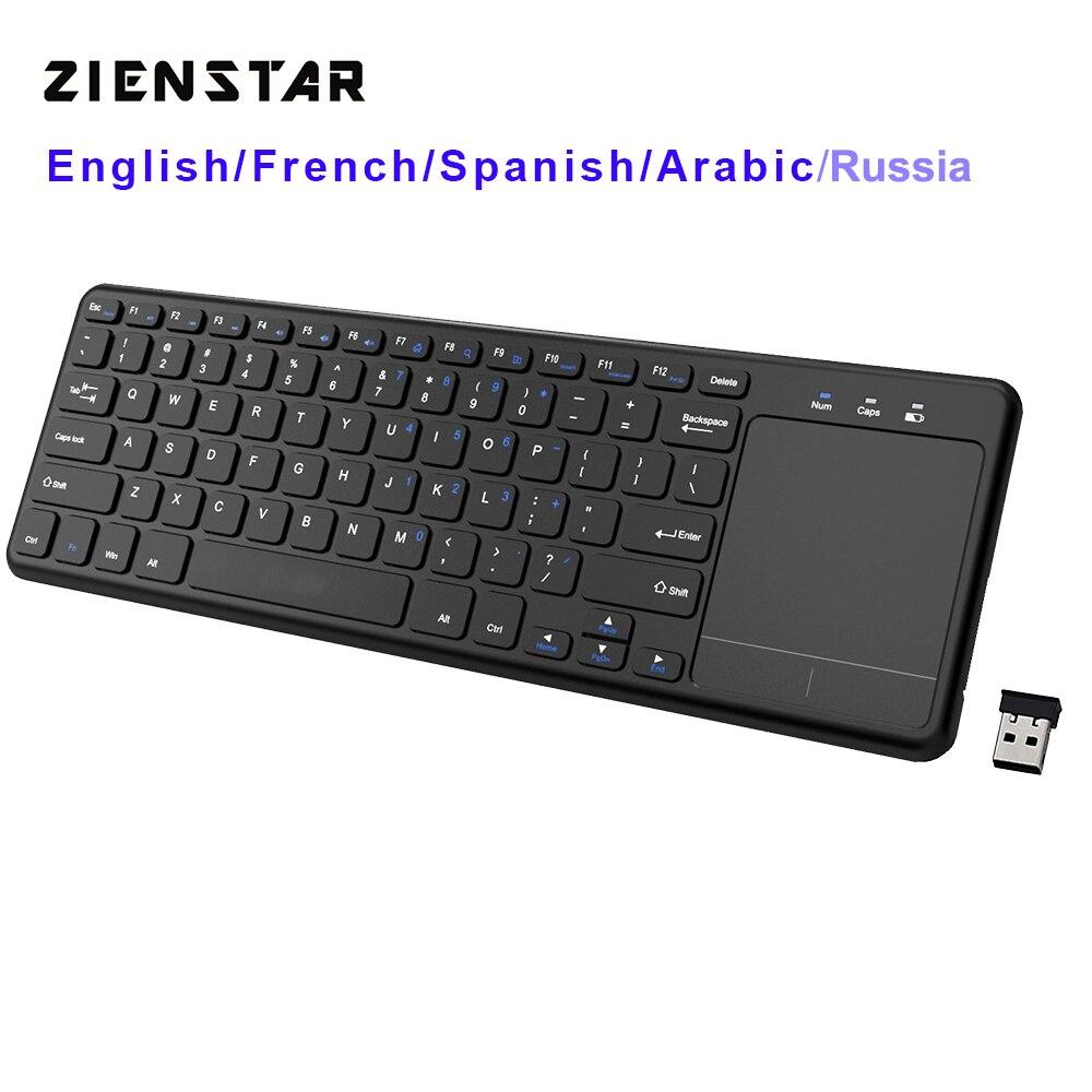 Zienstar2.4Ghz Touchpad Teclado Sem Fio para Windows PC, laptop, ios pad, Smart TV, HTPC IPTV, caixa de Android, Inglês/Rússia/Fr/Árabe