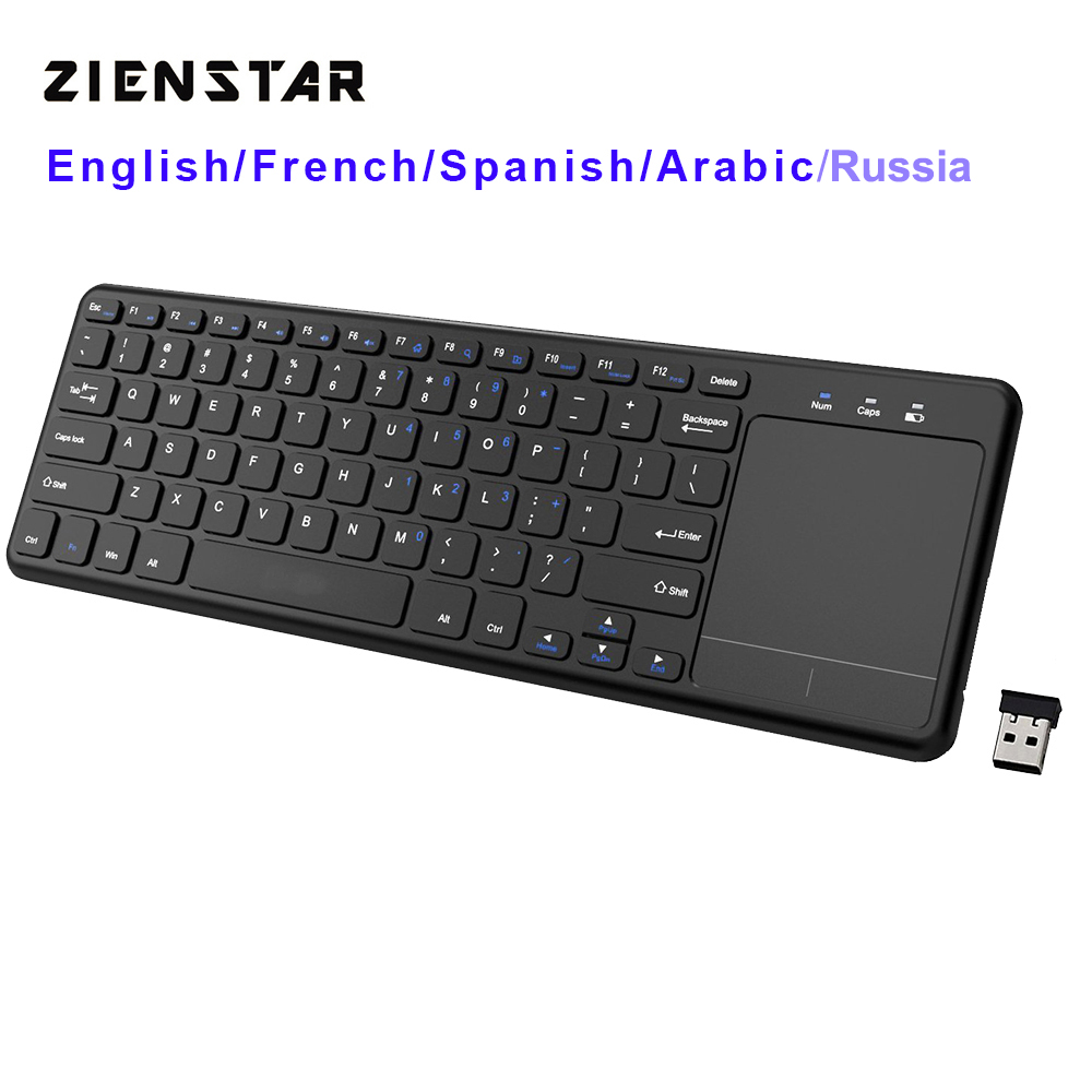 Zienstar2.4Ghz Touchpad Wireless Keyboard for Windows PC,laptop,ios pad,Smart TV,HTPC IPTV,Android Box,English/Russia/Fr/Arabic