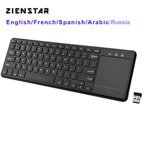 Zienstar2.4Ghz Touchpad Wireless Keyboard for Windows PC,laptop,ios pad,Smart TV,HTPC IPTV,Android Box,English/Russia/Fr/Arabic(China)