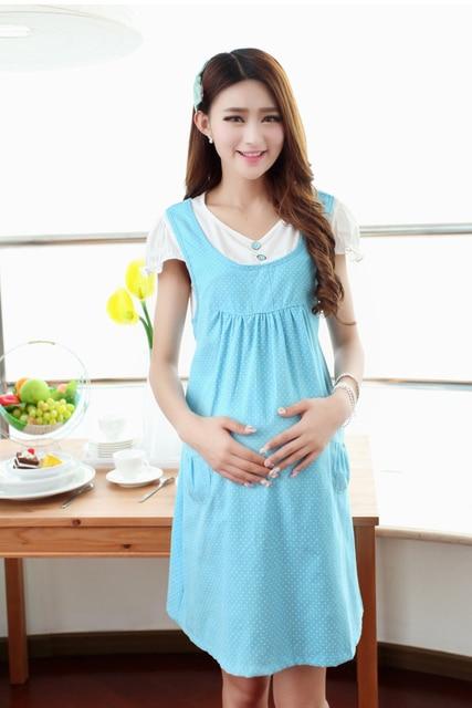 Plus size Pregnant women dress Gravidity summer knee length short sleeves  Cotton Maternity Clothing dress skirt 3a3376ca9803