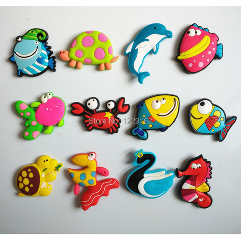 Free shipping (8pcs/lot) Cute Cartoon Sea Animal fridge magnets Soft Silicon Gel Refrigerator Magnets Decoration/Kids gift