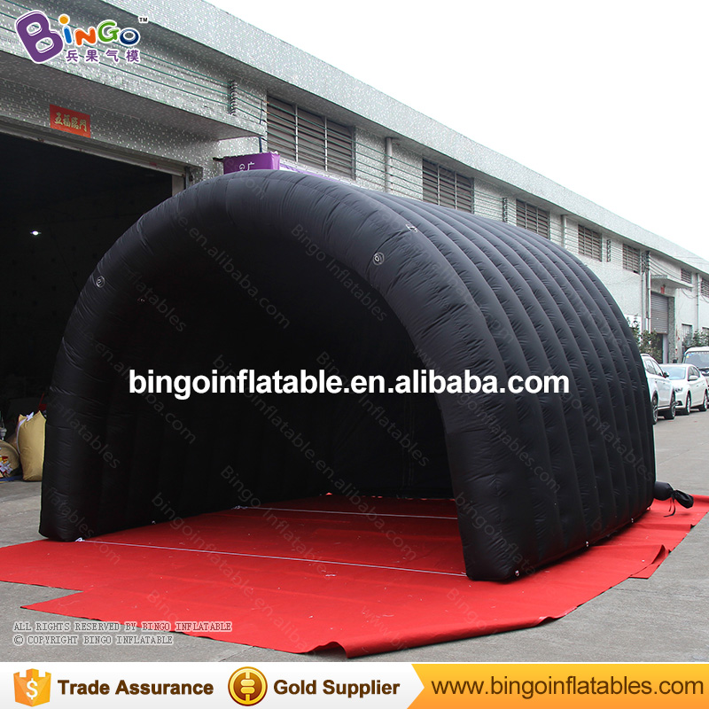 Black inflatable tunnel 4*4*3M tunnel tent stage tent for children, giant inflatable stage cover for sale toys tents 6 8x4x3 4m oxford cloth inflatable stage tent inflatable stage cover inflatable canopy tent for concert with free shipping