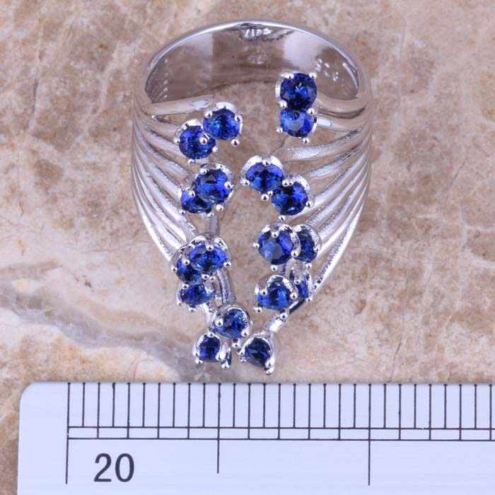 Fetching Blue Cubic Zirconiaแหวนเงินขนาด 5 / 6 / 7 / 8 / 9 / 10 S0450