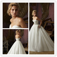 2014 Ball Gown Sweetheart Court Train Satin Beaded Vintage Backless Wedding Dresses Wedding Gown Bridal Dresses