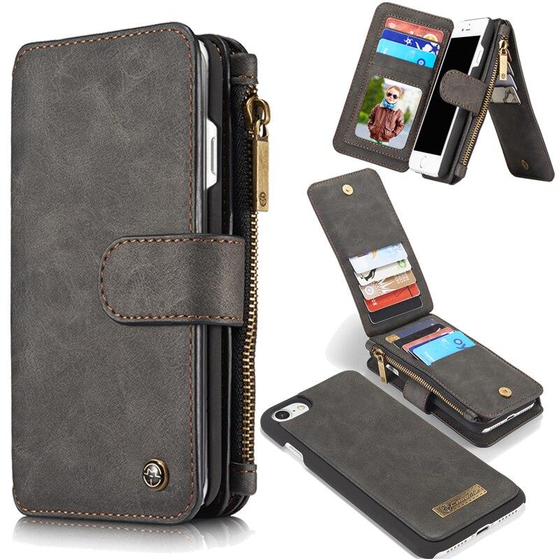 bilder für Für iphone 7 plus Fall Leder Mini Brieftasche Luxury Stand Retro 2in1 zurück Abdeckung Accesssories Flip Fällen für iphone 6 S 6 7 5 5 s SE