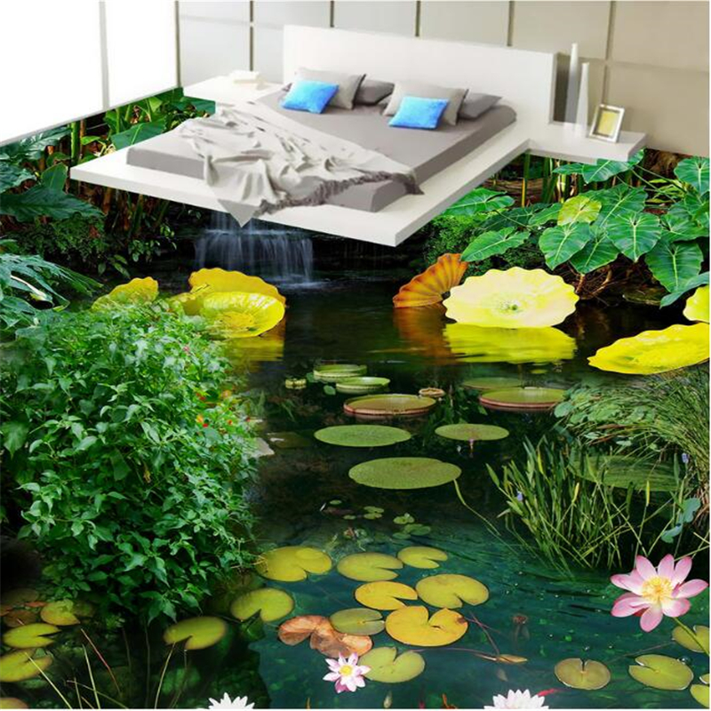 Beibehang Flooring Mural 3D Wallpaper Floor Living Room PVC Waterproof Floor Self Adhesive Sheet Faint Saw Pond 3d flooring beibehang 3d mural flooring pvc adhesive paper fish non slip waterproof thickening self adhesive fresco floor fototapete 3d