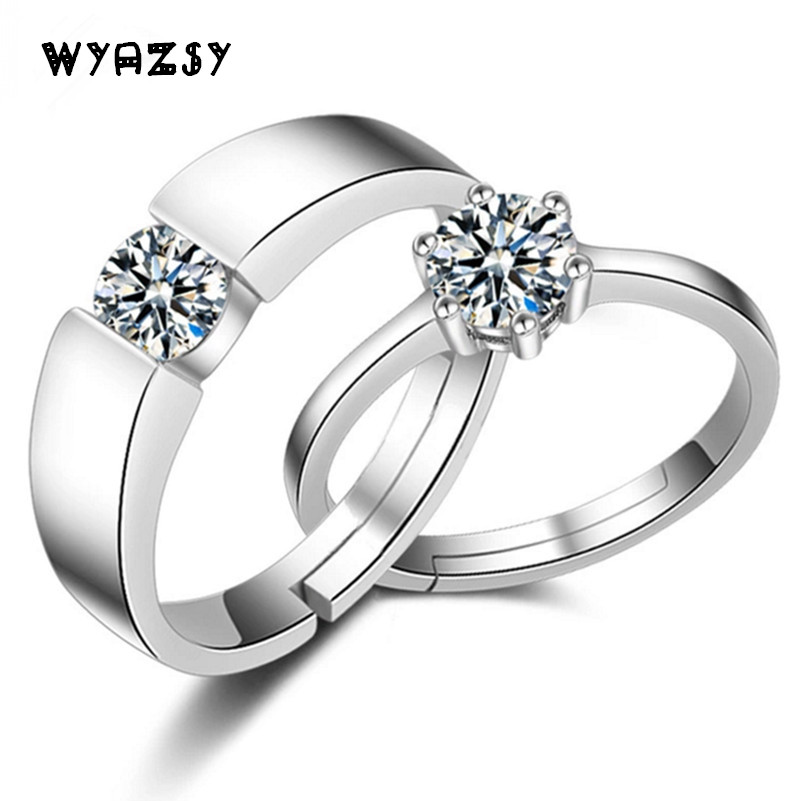 2 Pcs Crystal Jewelry Engagement Ring For Men Women