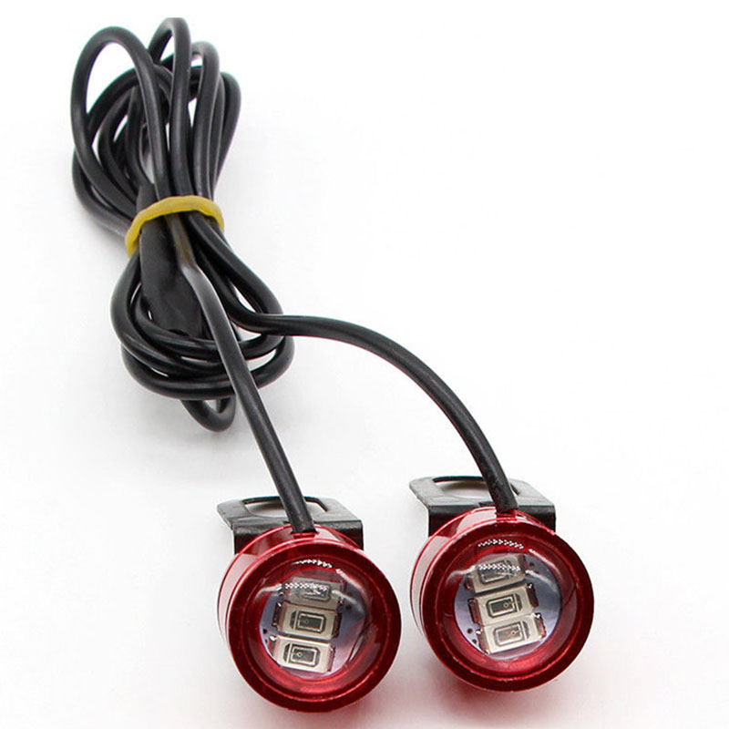 Mayitr 2pcs 12V 3 SMD 10W 5630 Red LED Motorcycle Rearview Mirror Decor Flash Strobe Light Flashing Lamp Durable