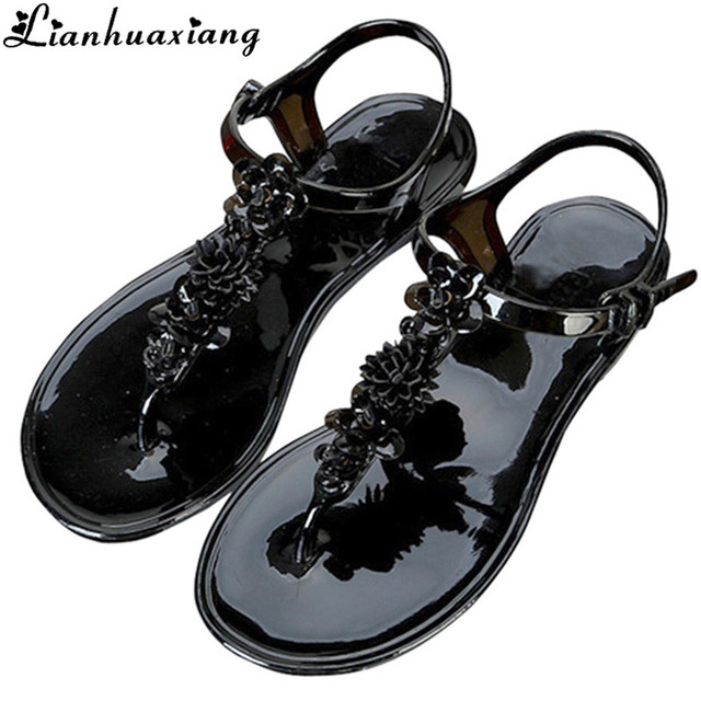 3e309f1d05e9 Women s New Hand-made Flowers Toe Plastic Sandals Summer Flat-bottomed Feet  T-buckle Vacation Beach Sandals 7N0318