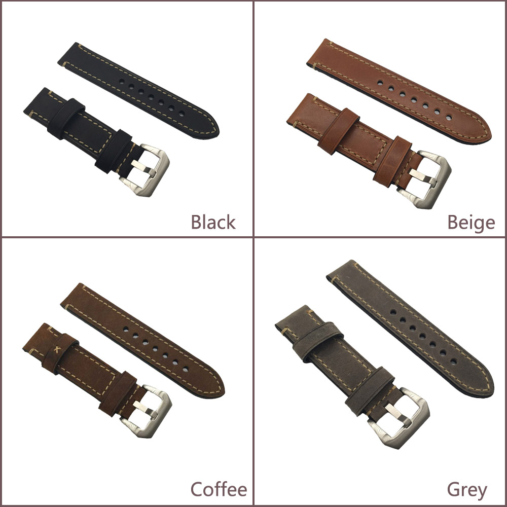 20 20MM 22MM 24MM 26MM genuine leather horse leather Watch band watch strap man watch straps black coffee grey -WB12075 20mm 22mm 24mm 26mm leather watch strap watch band man watch straps green orange beige with stainless steel silver buckle