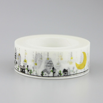 Real Stickers 1.5cm*10m Cute Small Town Washi Tape Masking Diy Decoration Scrapbooking Sticker Label School Office Supply image