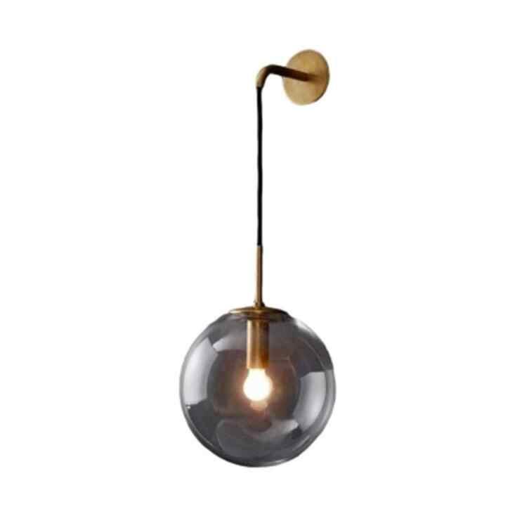Простой Круглый стеклянный настенный светильник для спальни, креативный индивидуальный светильник для ресторана, отеля, прохода, современный настенный светильник с одним изголовьем, светодиодный светильник