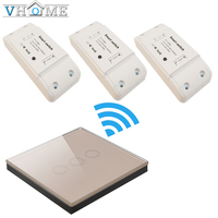 Vhome RF 433mhz Smart Universal Touch Wireless Remote Control Glass Panel Transmitter Controller 1CH Relay Receiver