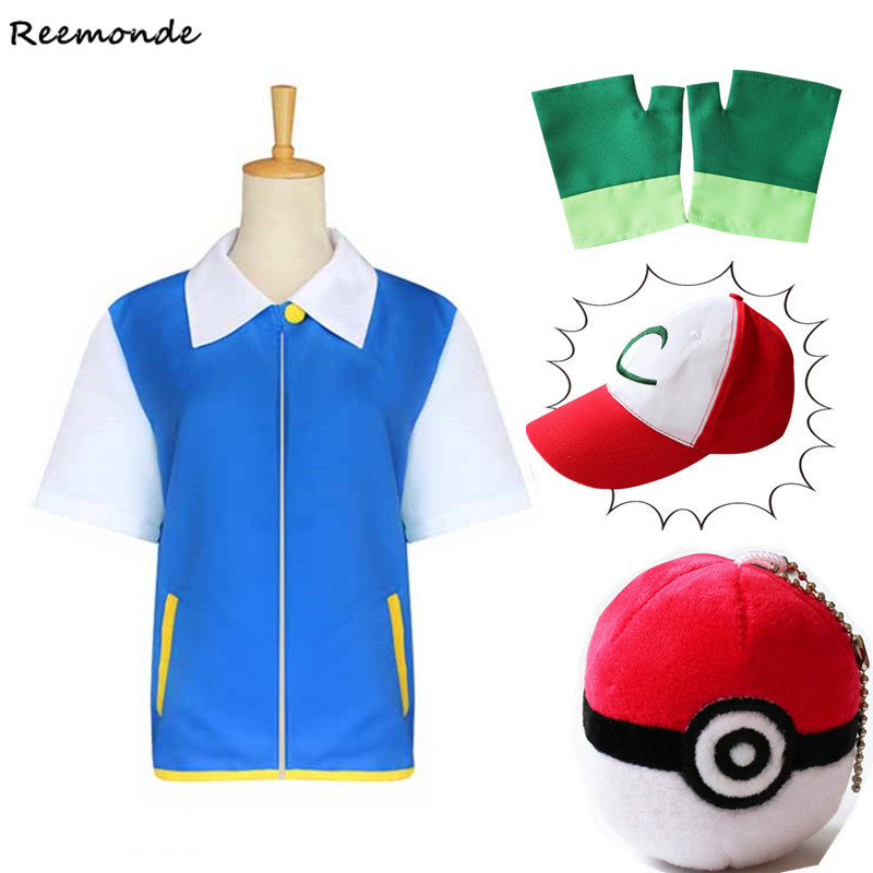 Anime Pokemon Ash Ketchum Cosplay Costumes Pocket Monster Jacket Gloves Hats Caps Ash Ketchum Ball Full Set Boys Girls Clothes