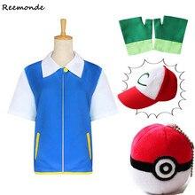 Anime Pokemon Ash Ketchum Cosplay monstruo de bolsillo chaqueta guantes  sombreros gorras Ash Ketchum bola llena conjunto Niños N.. 8fec7ea1f4be