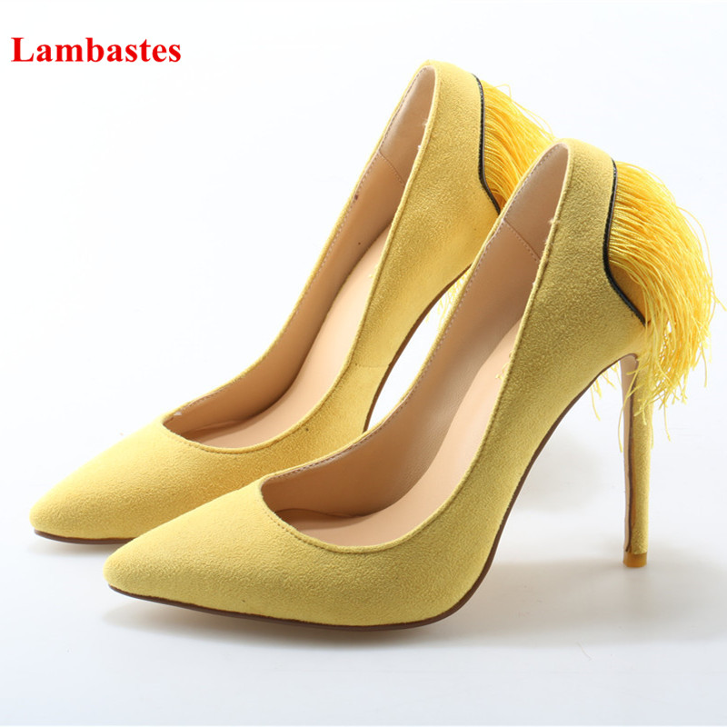 Yellow Purple Shallow Fringe Pointed Toe Women High-Heeled Pumps Elegant Party Wedding Stiletto Shoes Chaussures Femmes Pumps high quality suede wedding party dress shoes women pointed toe stiletto brand pumps bow fringe embellished high brands