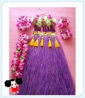 60cm Hawaiian Hula Grass Skirt Flower Purple Party Dress Beach Dance 1set/lot Free Shipping