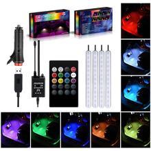 Luz de ambiente para coche, luz de pie, USB/encendedor, aplicación de Control remoto Interior, lámpara LED decorativa ambiental, accesorios de tira