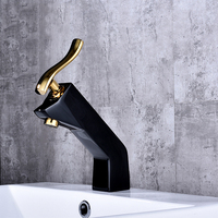 New Design Painting Basin Faucets Deck Mounted Tap Gold Handle Mixer Tap Hot Cold Water Mixer Bathroom Basin Tap