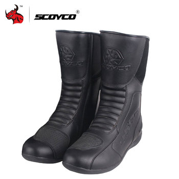 SCOYCO Waterproof Leather Motorcycle Boots Motorbike Long Riding Sport Road SPEED Professional Botas Motocross Shoes EU 39-46