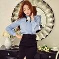 Original 2017 Brand Blusas Plus Size Long Sleeve Casual Vintage Ruffled Collar Flower Slim Spring Blouse Women Wholesale