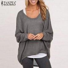 ZANZEA Plus Size Women Blouse Batwing Sleeve Shirts 2019 Autumn Ladies O Neck Long Sleeve Tops Casual Loose Blusa Femininas