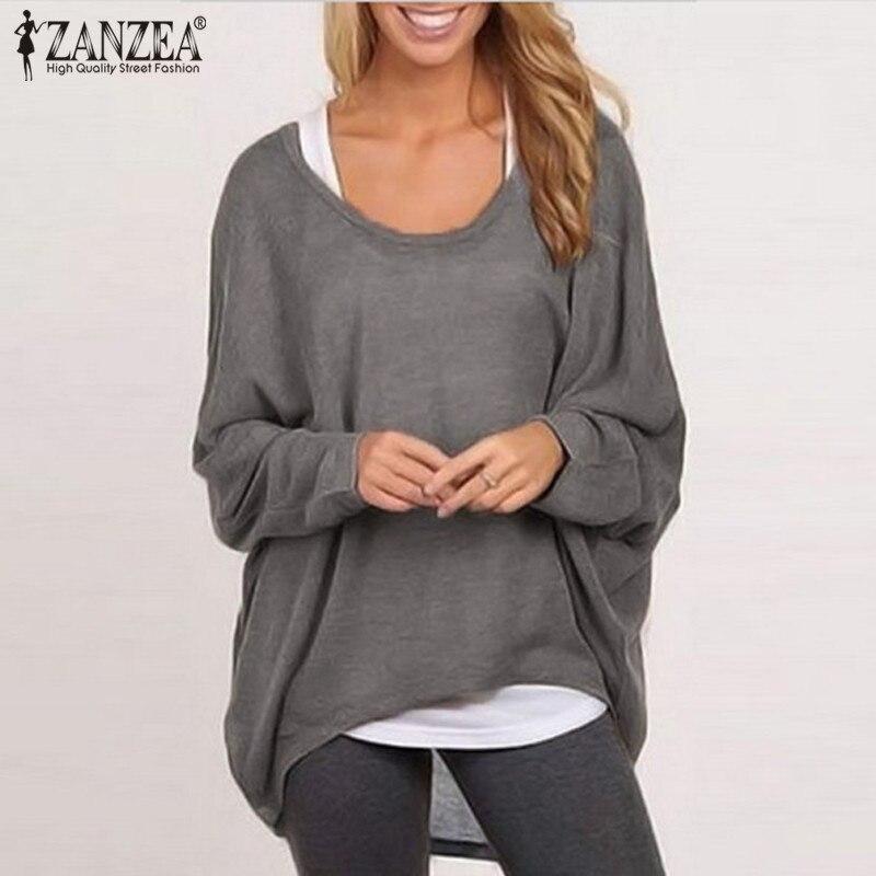 Zanzea زائد الحجم المرأة بلوزة كم batwing قميص 2018 الخريف السيدات س الرقبة طويلة الأكمام قمم عارضة فضفاض blusa femininas