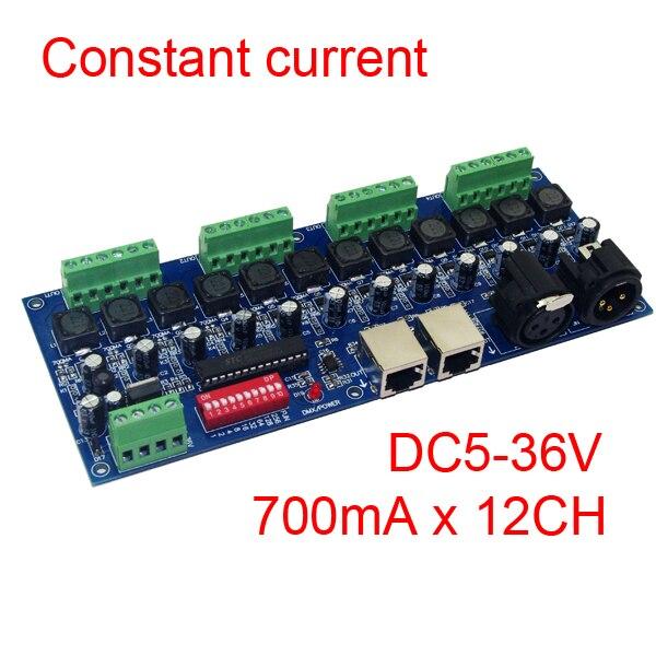 konstantní proud 12 kanál 700MA DMX512 4 skupiny RGB regulátor 12CH DMX512 dekodér DC5-36V vstup každý kanál 700MA