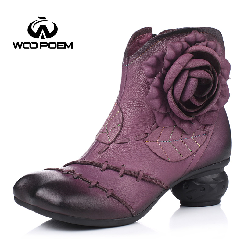 WooPoem Winter Shoes Woman Cow Leather Flower Shoes Comfort Med Heel Ankle Boots Genuine Leather Classic