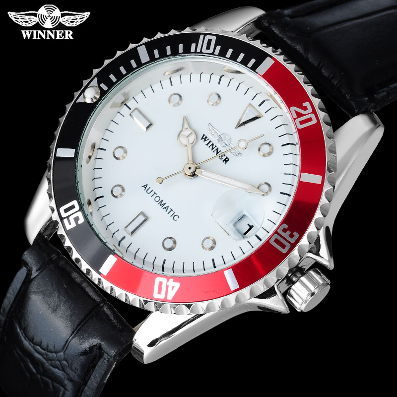 2016 WINNER China brand men dress automatic self wind watches creative silver case  transparent glass auto date leather band 2017 winner famous brand men fashion automatic self wind watches white dial transparent glass silver case stainless steel band