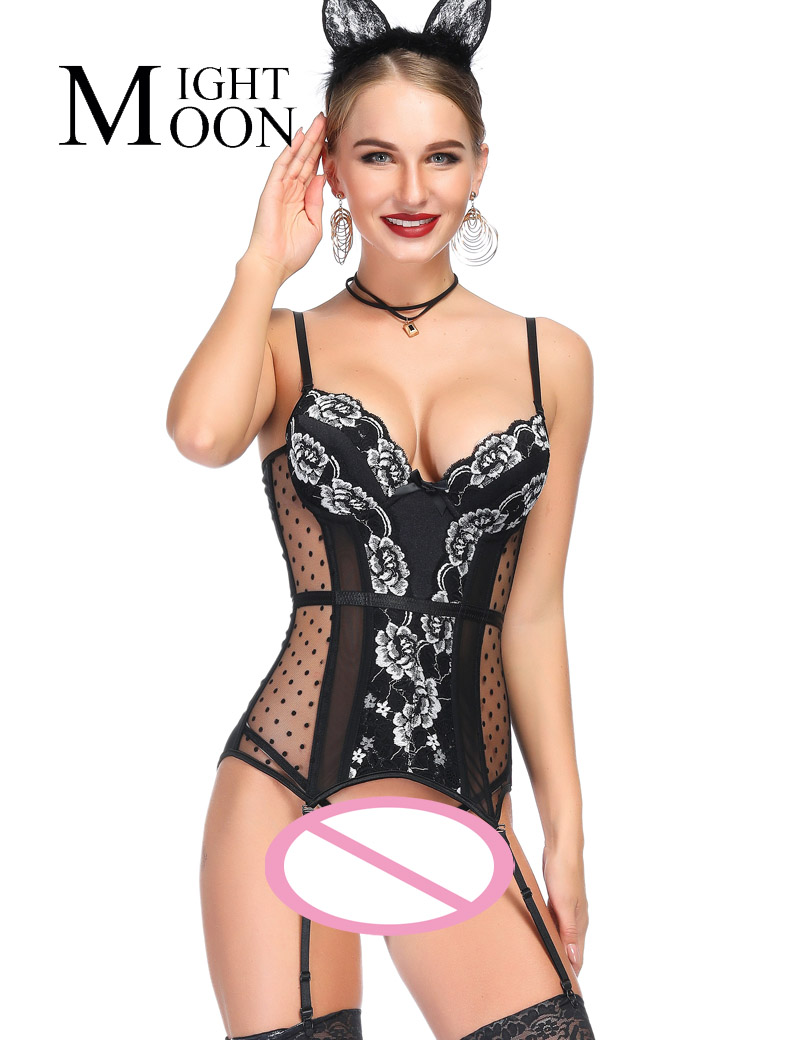 MOONIGHT Elastic Gothic   Corsets     Bustiers   Lace White&Black   Bustier   Women Push Up   Corset   Sexy Femme Lace Up Lingerie