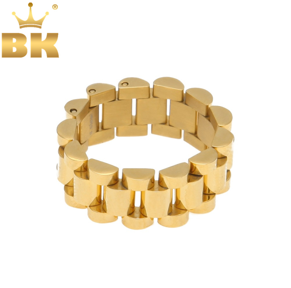 Top Quality Size 8-12 Hip Hop Band Ring Men's Stainless Steel Gold Color Watchband Link Style Ring(China)
