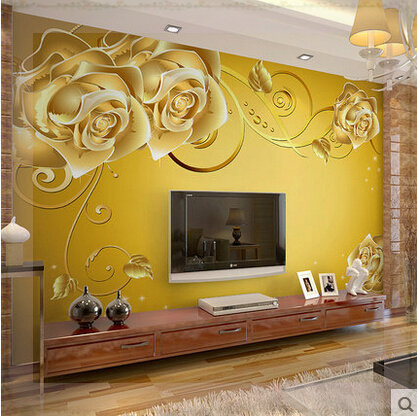 Self Adhesive Wall Mural Living Room Wallpaper 3D TV Background Gorgeous  Rose Yellow Murais 3d Part 89
