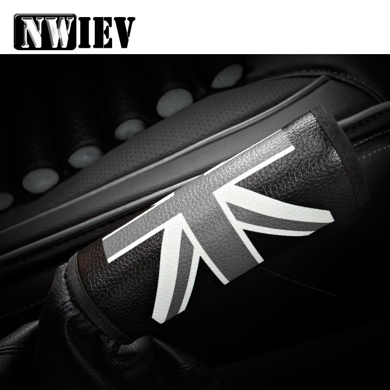 NWIEV Car Handbrake Cover Cases British Rice Pennant Leather Sets For Opel Astra H G Volvo S60 V70 XC90 Citroen C5 C4 C3 Subaru