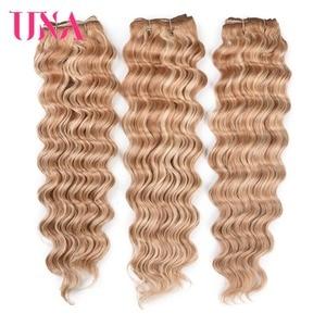 Image 5 - UNA HUMAN HAIR Deep Wave Bundles Pre colored Indian Hair Weft 1/3/4 Bundles Indian Hair Bundles Remy Human Hair Extensions
