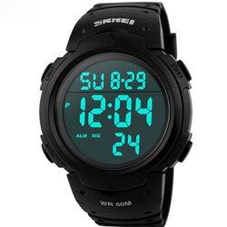 SKMEI Элитный бренд Для мужчин S Спортивные часы Dive 50 м цифровой светодиодный Военная Униформа часы Для мужчин модные Повседневное электроник...